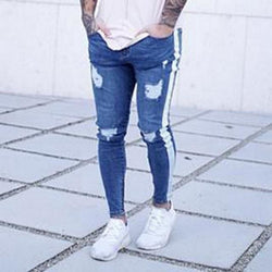 Striped Blue Distressed Jogger Jeans - affordable Cheap Clothes Quality Streetwear Bottoms - Blue / S