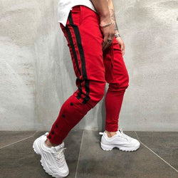 Striped Red Joggers - affordable Cheap Clothes Quality Streetwear Bottoms