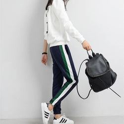 Striped Track Pants - affordable Cheap Clothes Quality styles - Blue / L