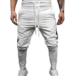 Striped White Joggers - affordable Cheap Clothes Quality Streetwear Bottoms - White / M