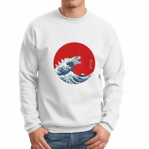 Tsunami Sweater - affordable Cheap Clothes Mens Longsleeves Quality - White / L