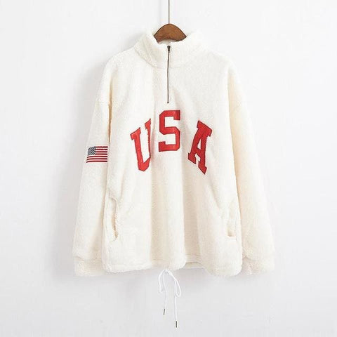 USA Sherpa ZipUp Sweaters - affordable Cheap Clothes Quality styles