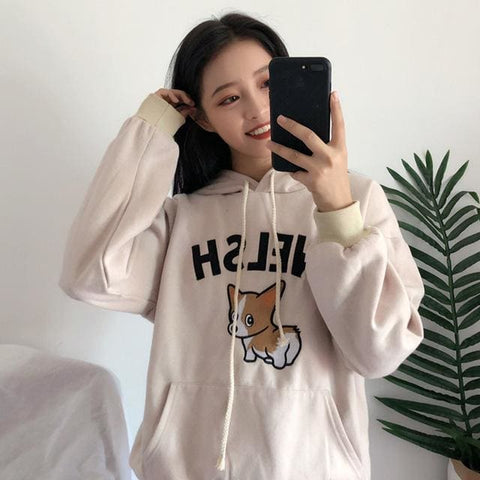 Welsh Corgi Hoodies - affordable Cheap Clothes Quality styles - Beige / L