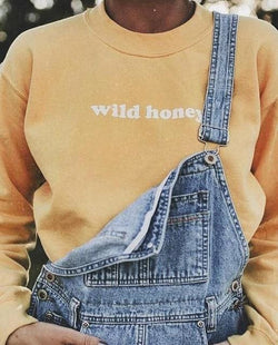 Wild Honey Sweaters - affordable Cheap Clothes Quality styles - Oranger - white text / S
