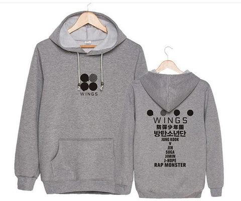 WINGS BTS Hoodies - affordable BTS Cheap Clothes Quality - grey / S