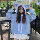 Wolf Ears Hoodies - affordable Cheap Clothes Quality styles - Blue / XXS