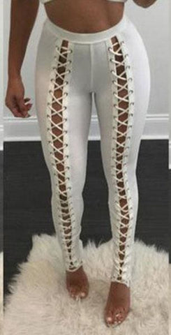 XOXO Lace Up Leggings - affordable Cheap Clothes Quality styles - White / L