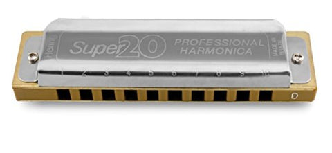 Hering 8020F Super 20 Diatonic Harmonica Stainless Steel and Gold Plastic Key of F