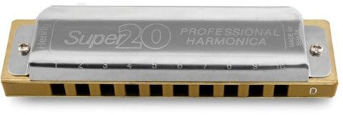 Hering 8020Bb Super 20 Diatonic Harmonica Stainless Steel and Gold Plastic Key of Bb