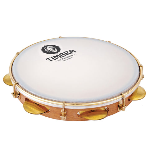 Timbra 8628EX 10 Inch Professional Pandeiro with Gold Hardware and Synthetic Head