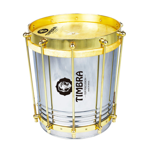 Timbra 8220EX 10 Inch X 30cm Conical Stainless Aluminum Cuica with Gold Hardware and Natural Head