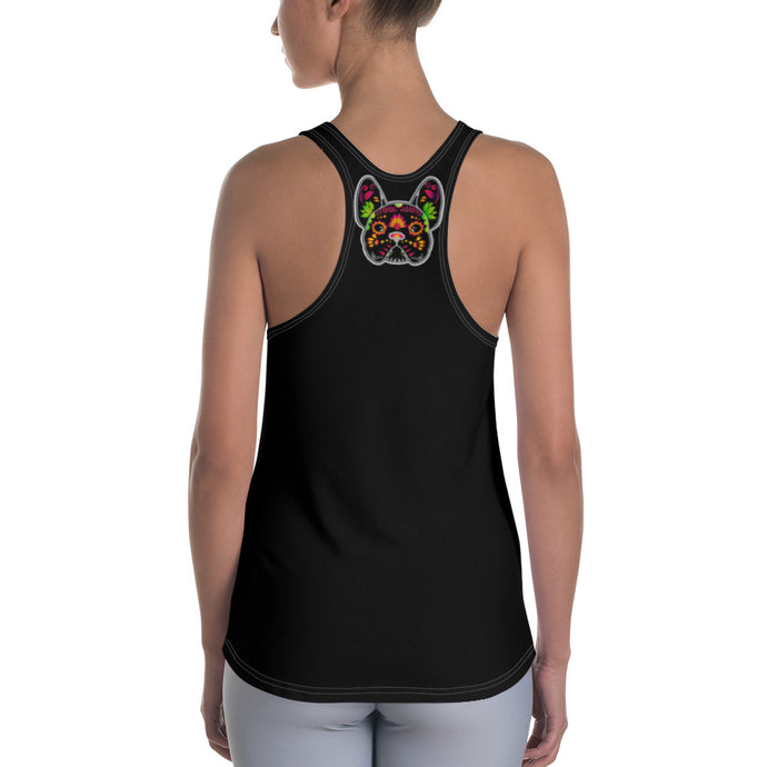 Black/Black French Bulldog Women's Racerback Tank