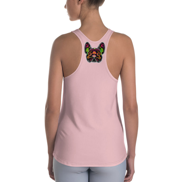 Black/Pink French Bulldog Women's Racerback Tank