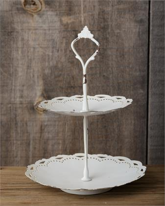 White Laced 2 Tiered Tray