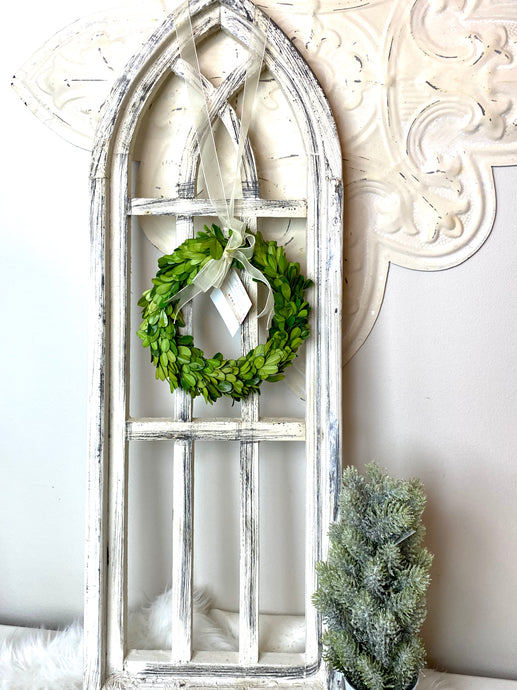 White Wood Arch Decor 32""