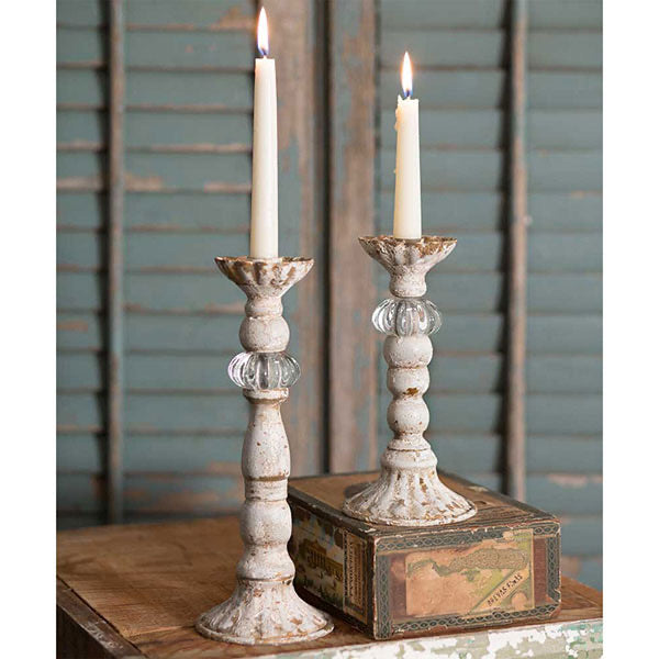 French Distressed Candle Holder Set of 2