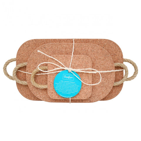Cork Set of 3 Trivets w/ Rope Handles