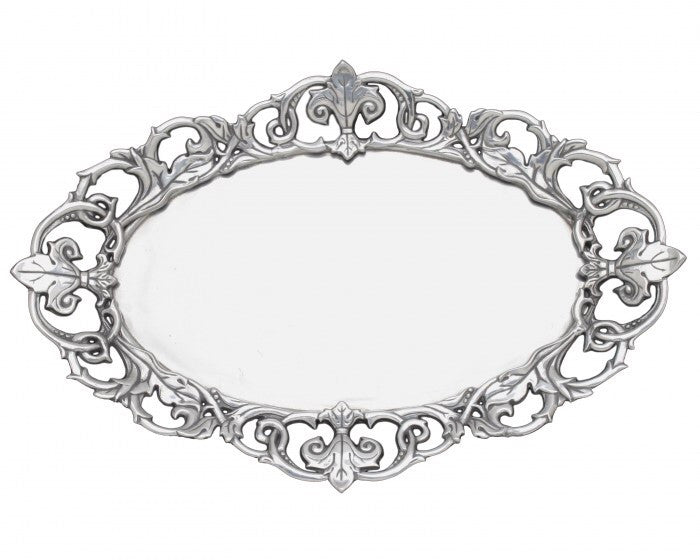 Arthur Court Fleur-De-Lis Oval Serving Tray A102920