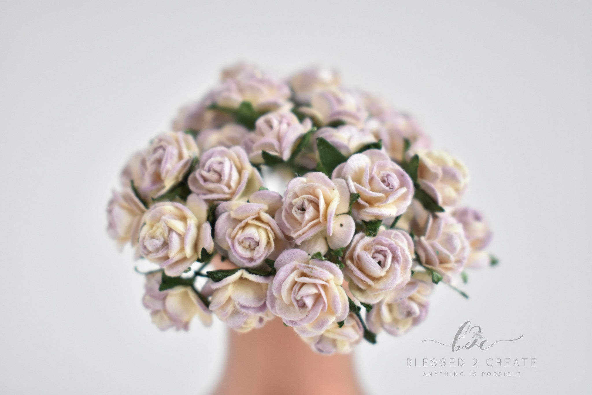 10 10mm Cream And Lilac Rose Mulberry Paper Flowers