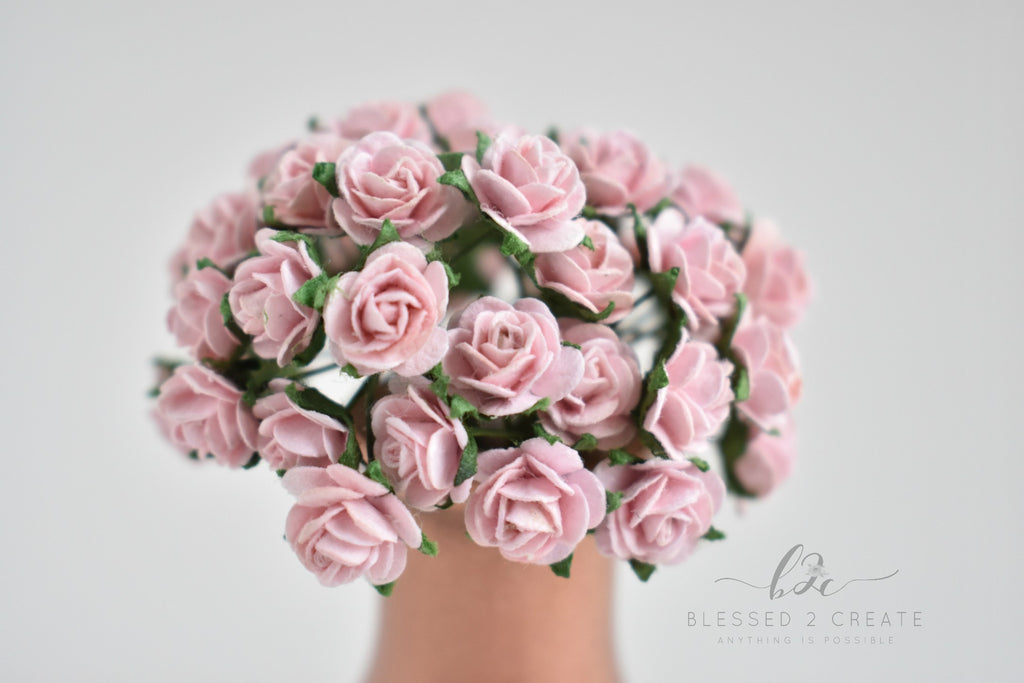 10 - 10mm Pale Pink Rose Mulberry Paper Flowers