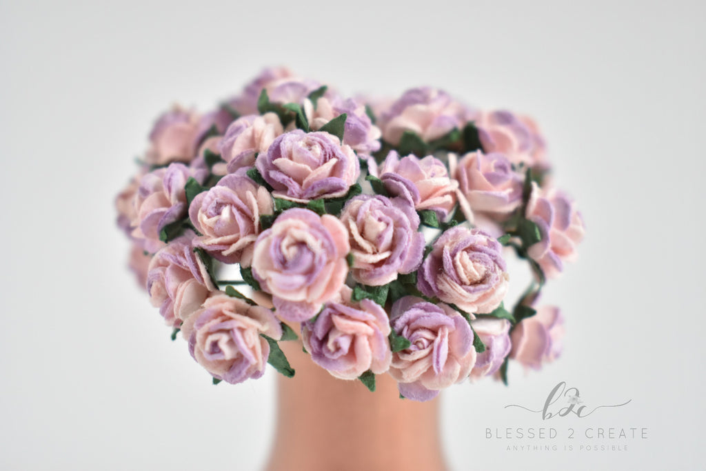 10 - 10mm Pink and Lilac Rose Mulberry Paper Flowers