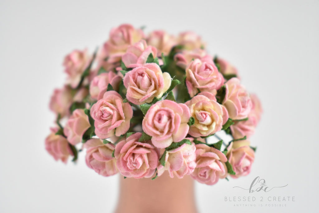 10 - 10mm Pink Champagne Rose Mulberry Paper Flowers