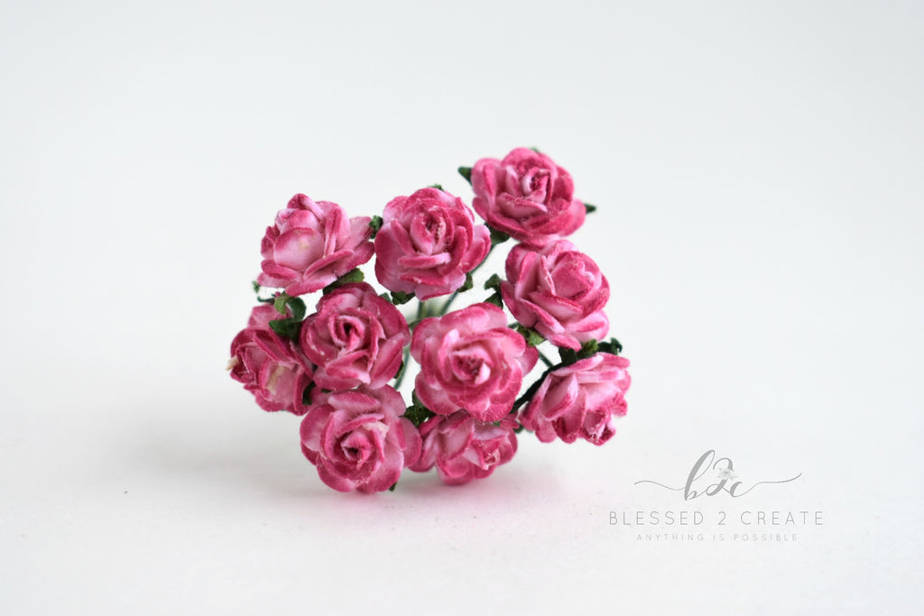 10 - 10mm Pink Mix Rose Mulberry Paper Flowers