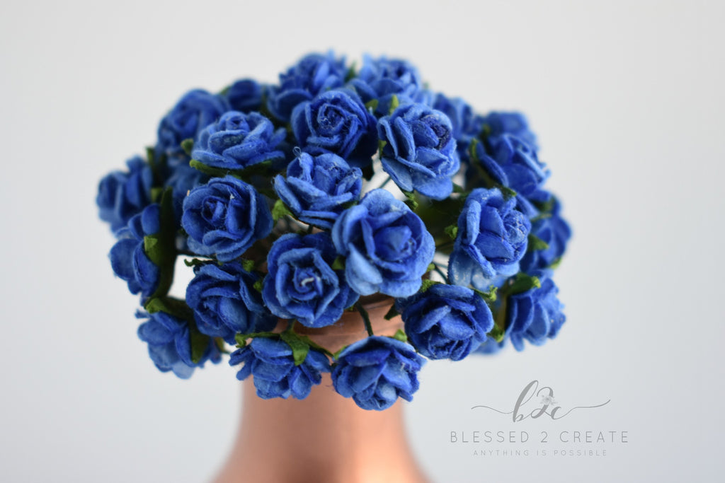 10 - 10mm Royal Blue Rose Mulberry Paper Flowers