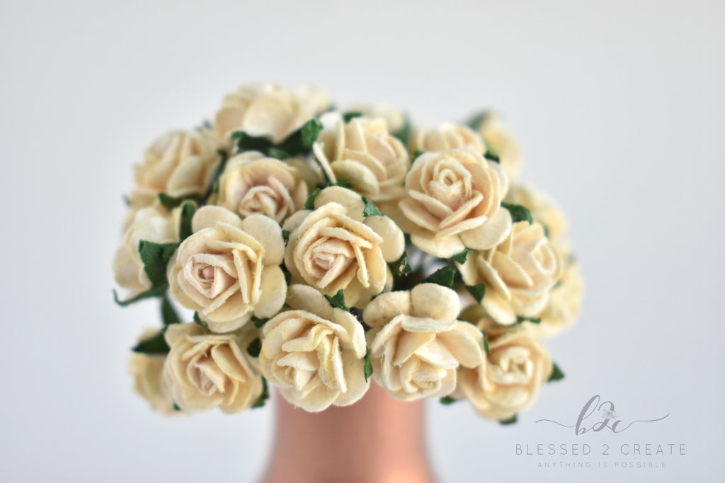 10 - 15mm Deep Ivory Rose Mulberry Paper Flowers