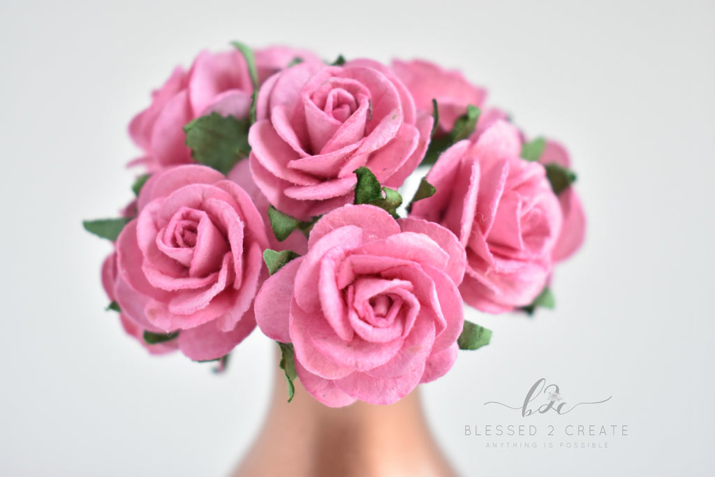 5 - 25mm Pink Rose Mulberry Paper Flowers