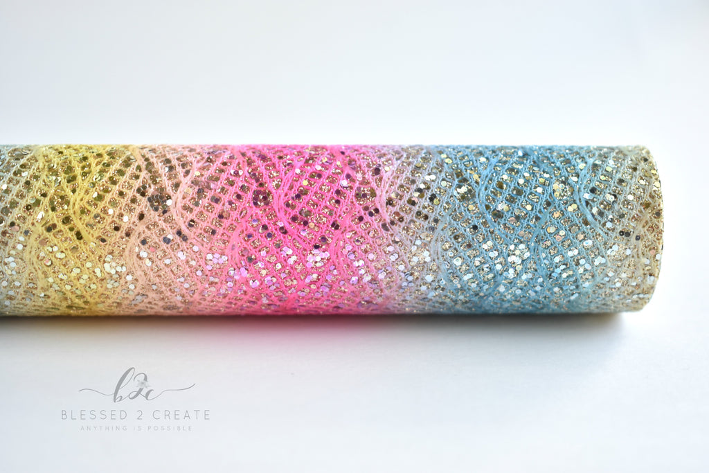 Rainbow Lace Chunky Glitter Fabric Sheet