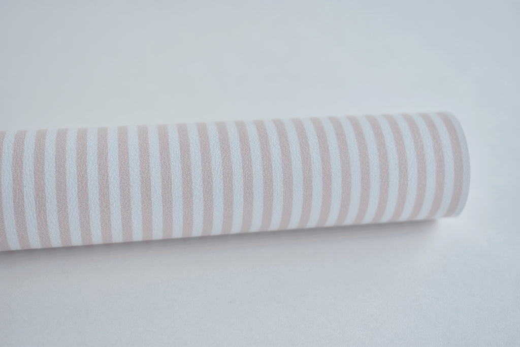 Pink and White Striped Faux Leather Fabric Sheet