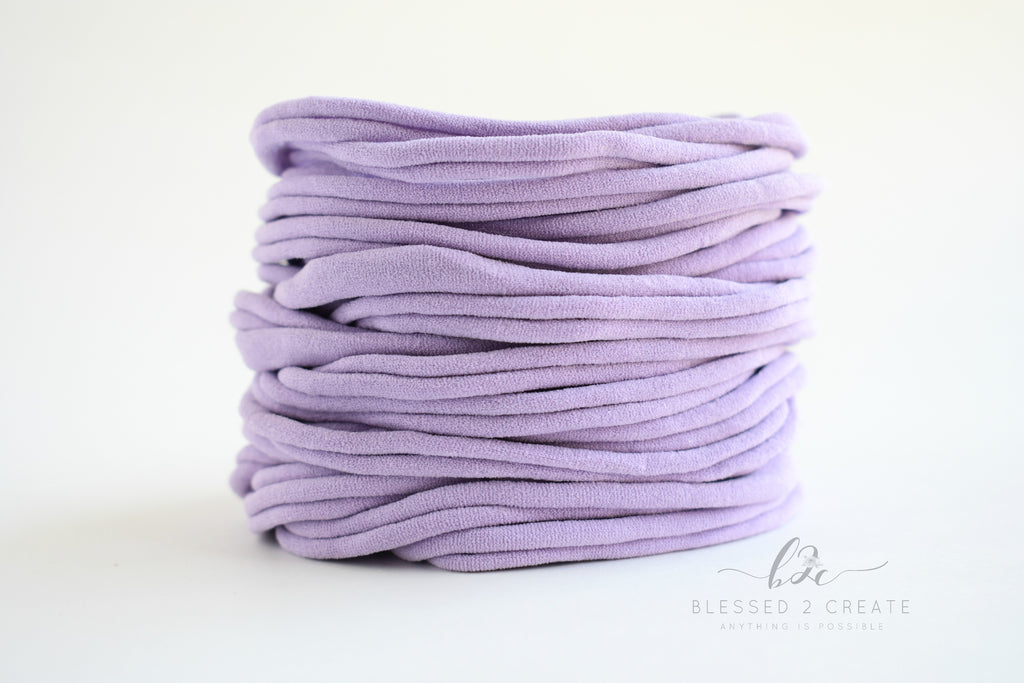Set of 5 Lilac Nylon Headbands / Run-Resistant / High Quality