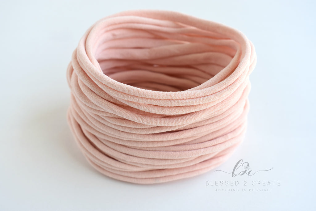 Set of 5 Light Peach (Blush) Nylon Headbands / Run-Resistant / High Quality