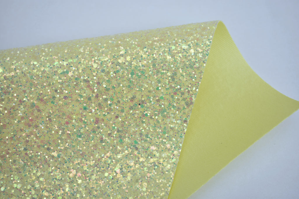 Happy Iridescent Crystal Chunky Glitter Fabric Sheet