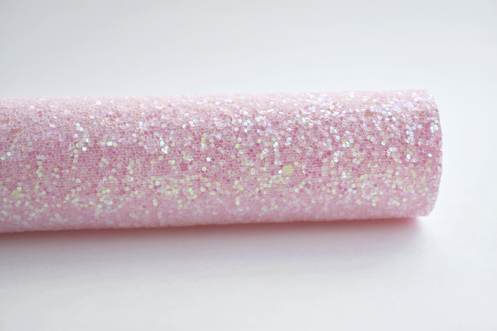 Princess Pink Iridescent Frosted Chunky Glitter Fabric Sheet