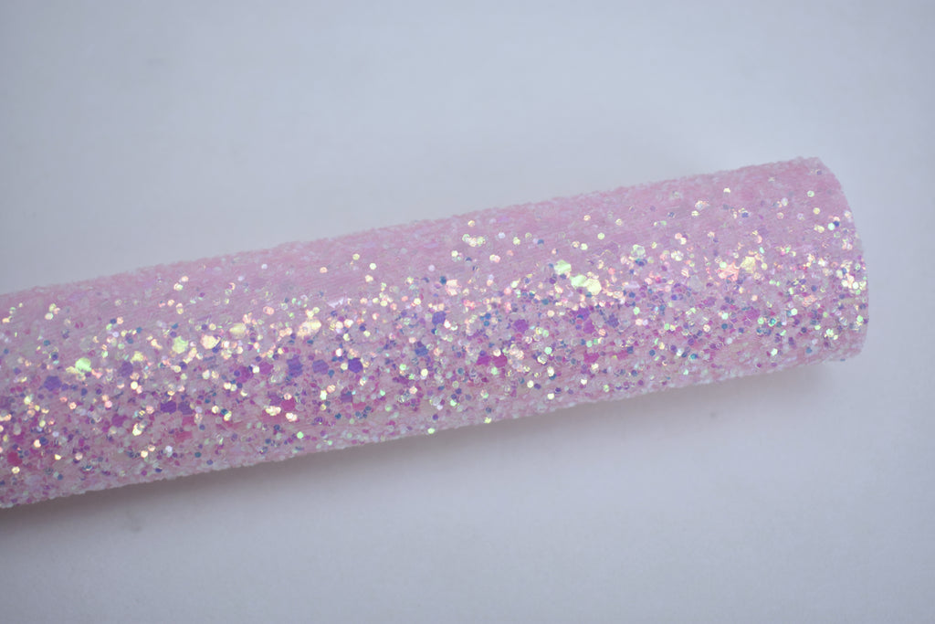 Love Iridescent Crystal Chunky Glitter Fabric Sheet