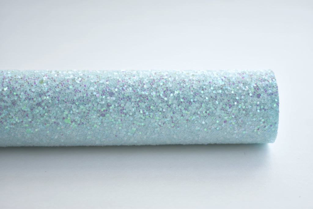 Mermaid Blue Iridescent Frosted Chunky Glitter Fabric Sheet