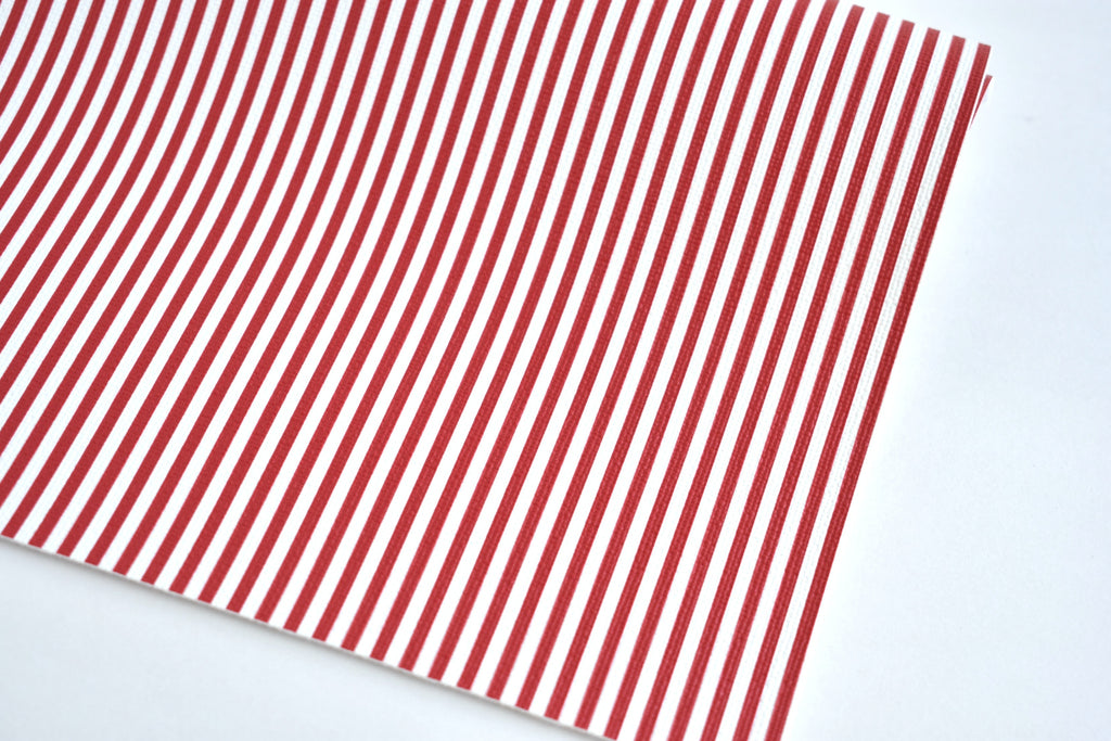 Red and White Striped Faux Leather Fabric Sheet