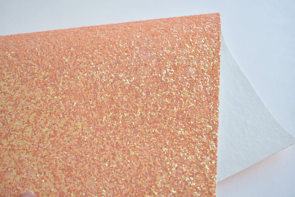 Tangy Tangerine Chunky Glitter Fabric Sheet