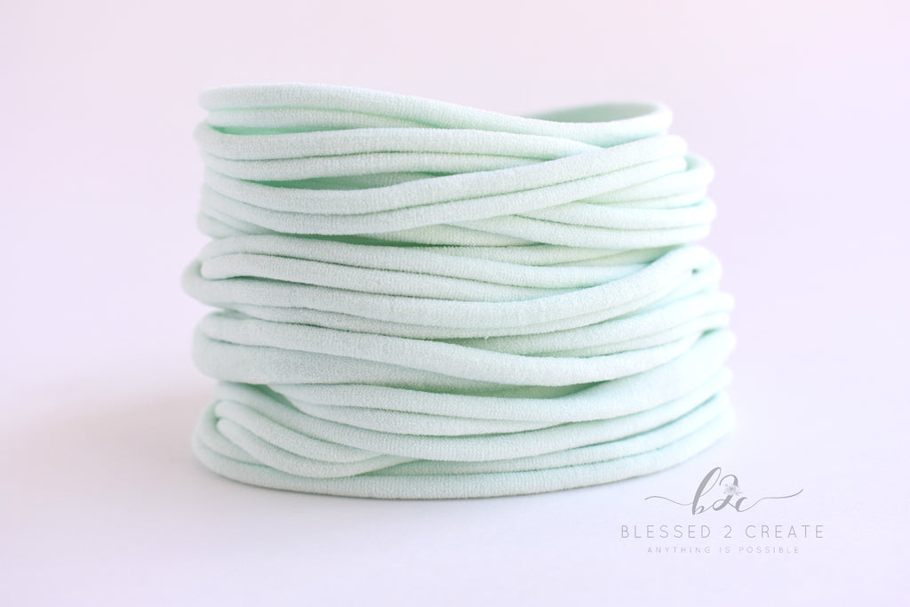 Set of 5 Mint Nylon Headbands / Run-Resistant / High Quality