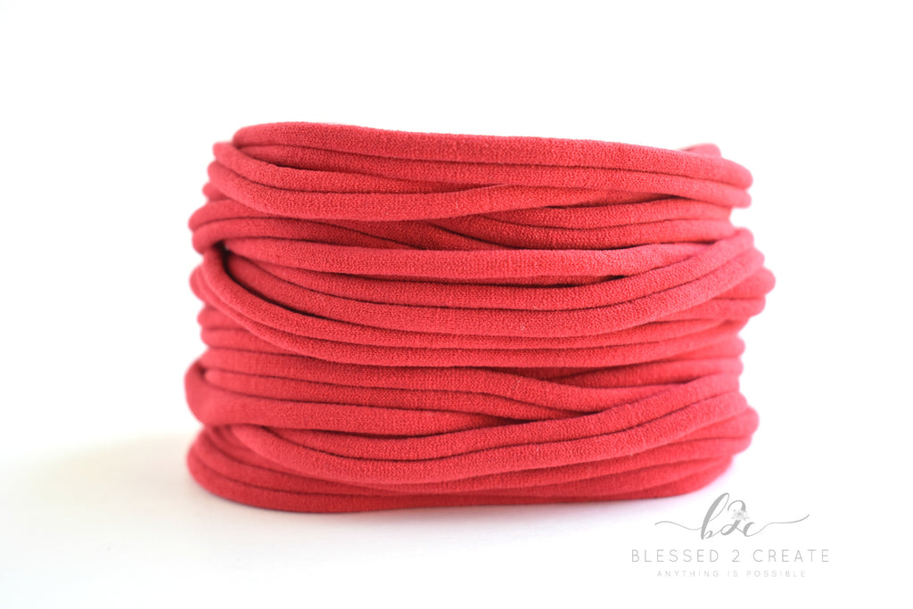Set of 5 Red Nylon Headbands / Run-Resistant / High Quality
