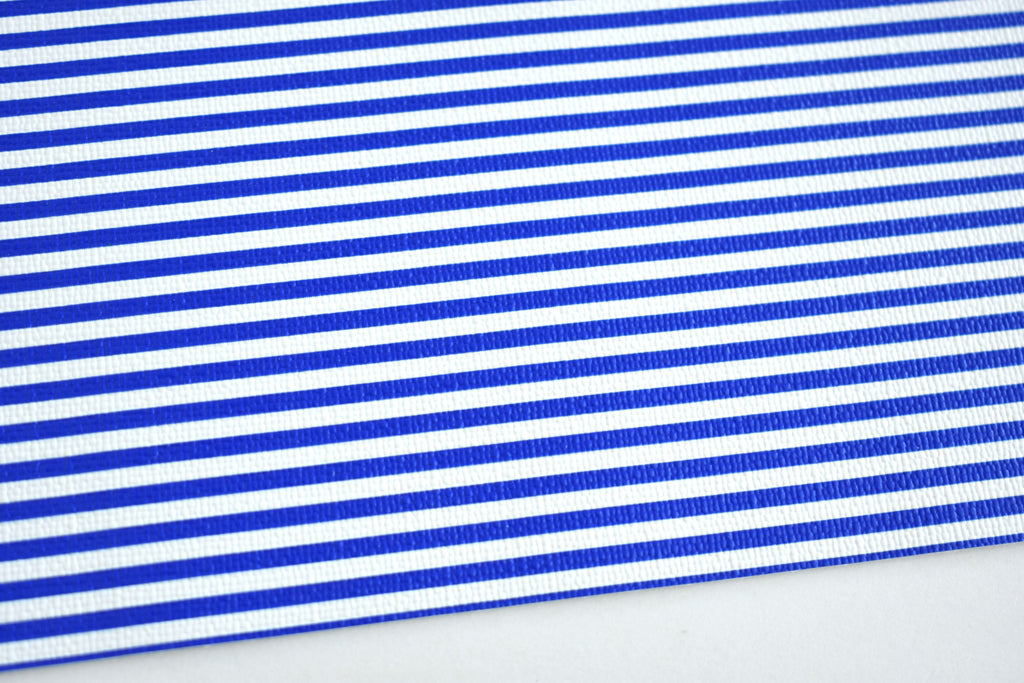 Blue and White Striped Faux Leather Fabric Sheet