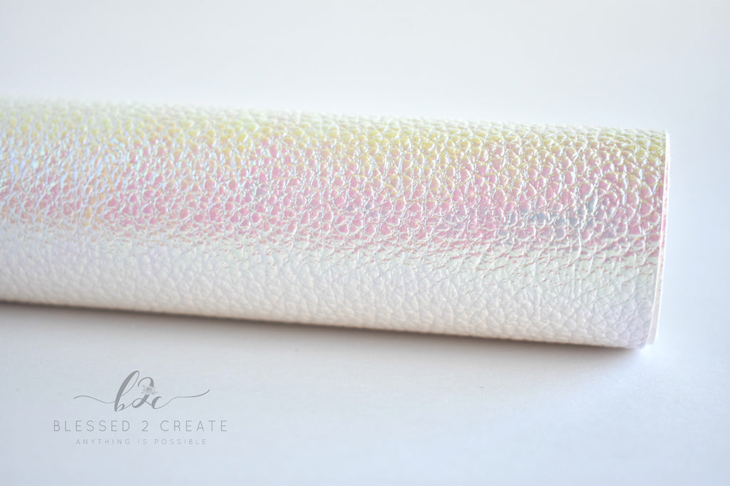 White Iridescent Textured Faux Leather Fabric Sheet