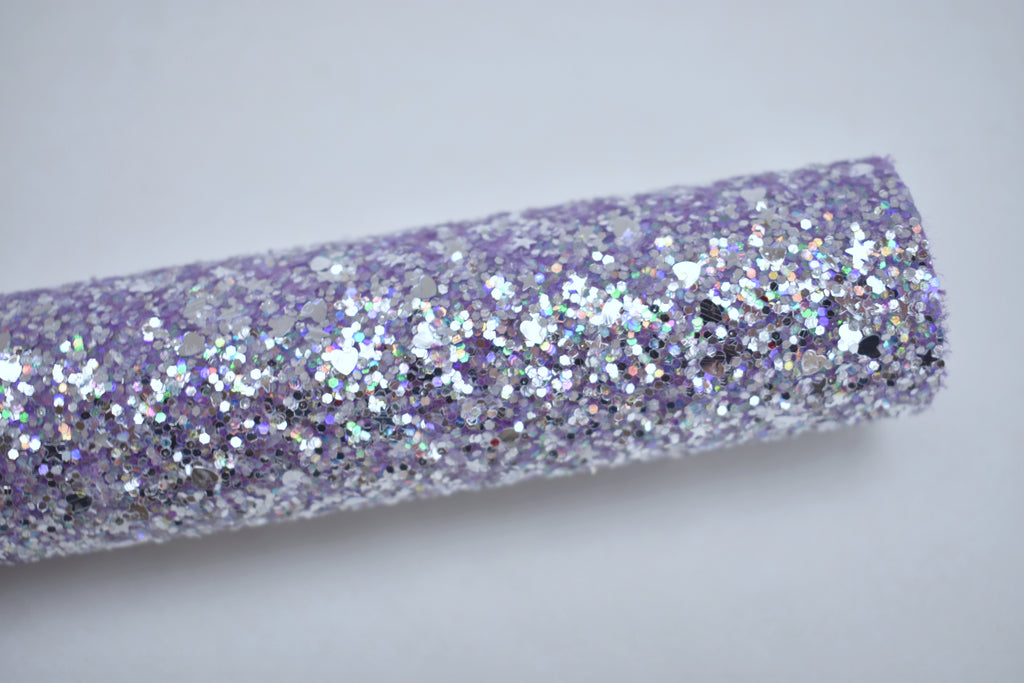 Purple Dazzling Hearts & Stars Iridescent Chunky Glitter Fabric Sheet