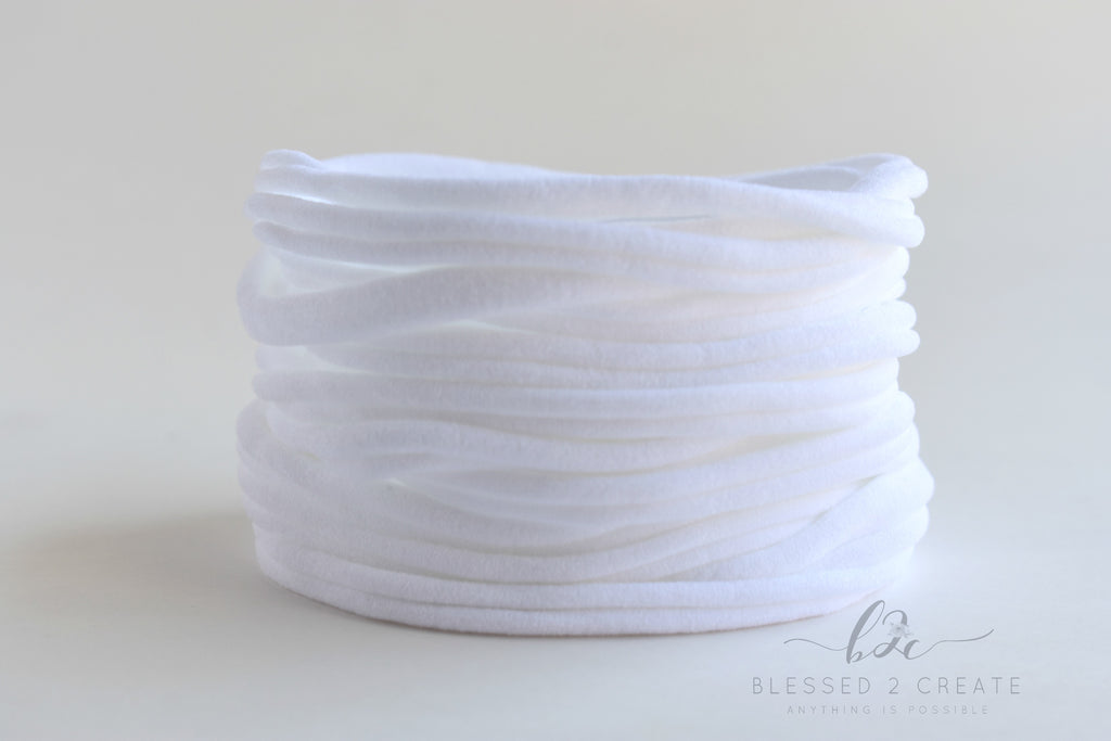 Set of 5 White Nylon Headbands / Run-Resistant / High Quality