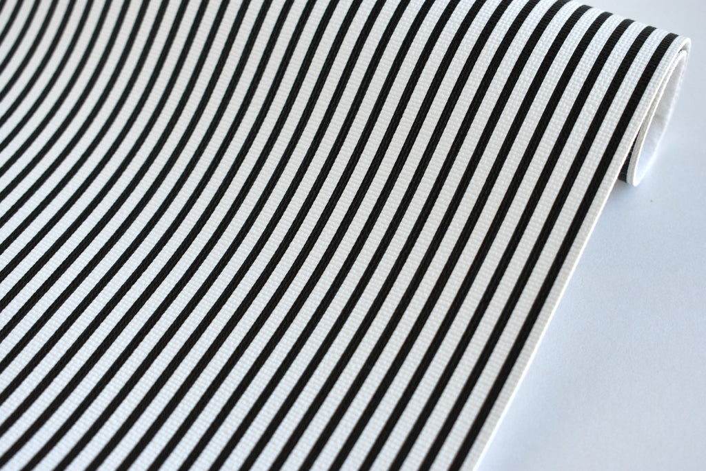 Black and White Striped Faux Leather Fabric Sheet
