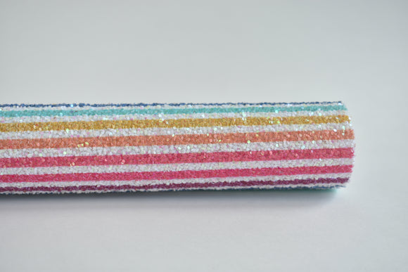 Rainbow Stripes Exclusive Iridescent Chunky Glitter Fabric Sheet
