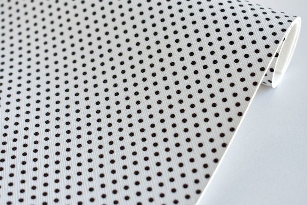 White with Black Polka Dots Faux Leather Fabric Sheet