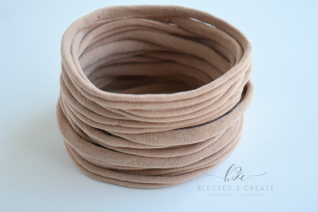Set of 5 Nude Nylon Headbands / Run-Resistant / High Quality